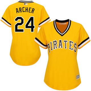 Women's Pirates #24 Chris Archer Gold Alternate Stitched Baseball Jersey