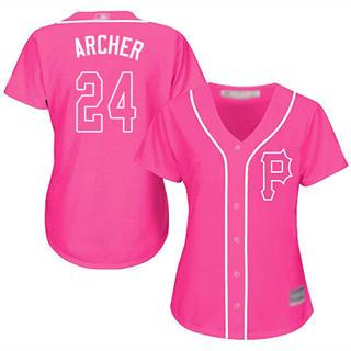 Women's Pirates #24 Chris Archer Pink Fashion Stitched Baseball Jersey