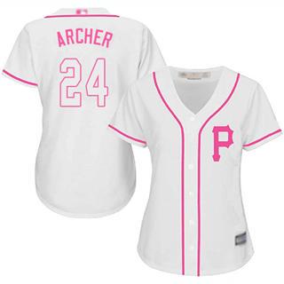 Women's Pirates #24 Chris Archer White Pink Fashion Stitched Baseball Jersey