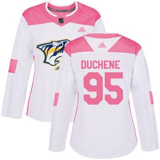 Women's Predators #95 Matt Duchene White Pink  Fashion Stitched Hockey Jersey