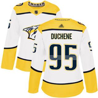 Women's Predators #95 Matt Duchene White Road  Stitched Hockey Jersey