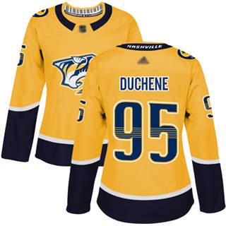 Women's Predators #95 Matt Duchene Yellow Home  Stitched Hockey Jersey