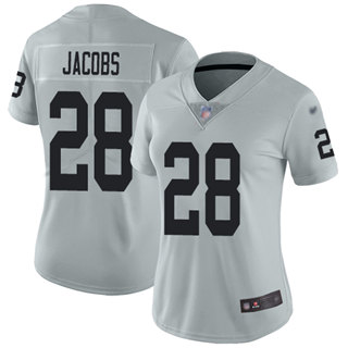 Women's Raiders #28 Josh Jacobs Silver Stitched Football Limited Inverted Legend Jersey