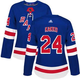 Women's Rangers #24 Kaapo Kakko Royal Blue Home Authentic Stitched Hockey Jersey