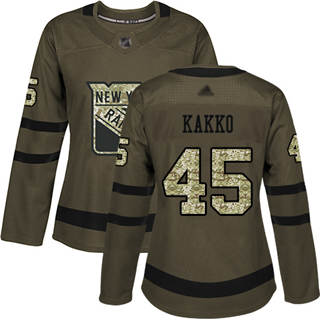 Women's Rangers #45 Kaapo Kakko Green Salute to Service Stitched Hockey Jersey