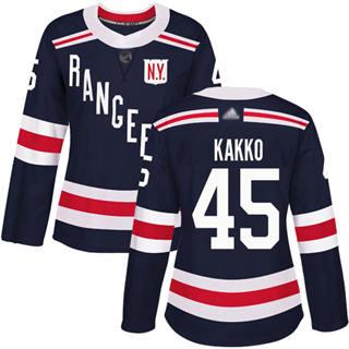 Women's Rangers #45 Kaapo Kakko Navy Blue Authentic 2018 Winter Classic Stitched Hockey Jersey