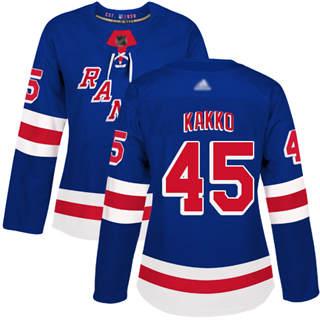 Women's Rangers #45 Kaapo Kakko Royal Blue Home Authentic Stitched Hockey Jersey