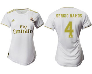 Women's Real Madrid #4 Sergio Ramos Home Soccer Club Jersey