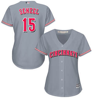 Women's Reds #15 Nick Senzel Grey Road Stitched Baseball Jersey