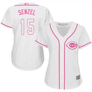 Women's Reds #15 Nick Senzel White Pink Fashion Stitched Baseball Jersey