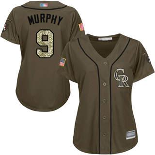 Women's Rockies #9 Daniel Murphy Green Salute to Service Stitched Baseball Jersey