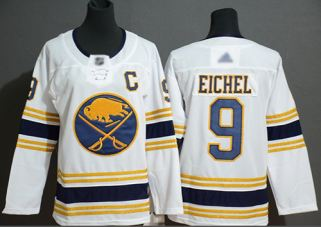 Women's Sabres #9 Jack Eichel White 50th Season Authentic Stitched Hockey Jersey