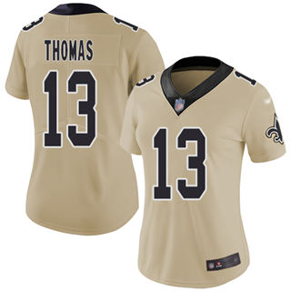 Women's Saints #13 Michael Thomas Gold Stitched Football Limited Inverted Legend Jersey
