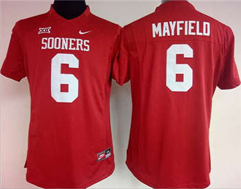 Women's Sooners #6 Baker Mayfield Red Stitched NCAA Jersey