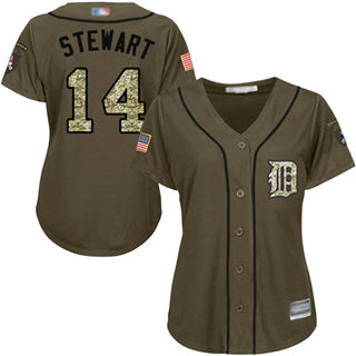 Women's Tigers #14 Christin Stewart Green Salute to Service Stitched Baseball Jersey