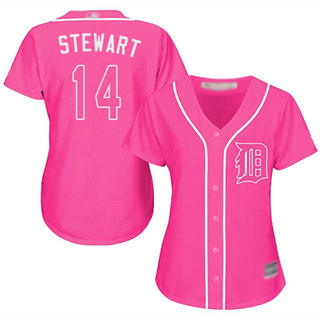 Women's Tigers #14 Christin Stewart Pink Fashion Stitched Baseball Jersey