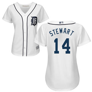 Women's Tigers #14 Christin Stewart White Home Stitched Baseball Jersey