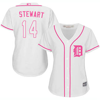 Women's Tigers #14 Christin Stewart White Pink Fashion Stitched Baseball Jersey