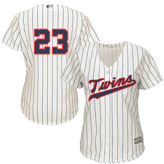Women's Twins #23 Nelson Cruz Cream Strip Alternate Stitched Baseball Jersey