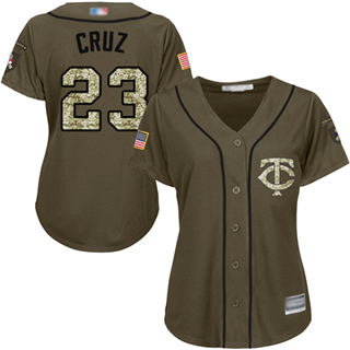 Women's Twins #23 Nelson Cruz Green Salute to Service Stitched Baseball Jersey
