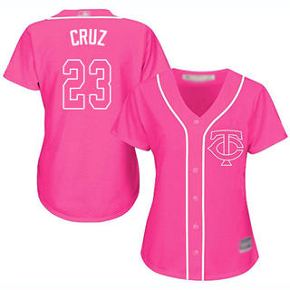 Women's Twins #23 Nelson Cruz Pink Fashion Stitched Baseball Jersey