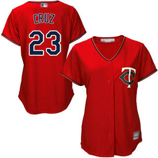 Women's Twins #23 Nelson Cruz Red Alternate Stitched Baseball Jersey