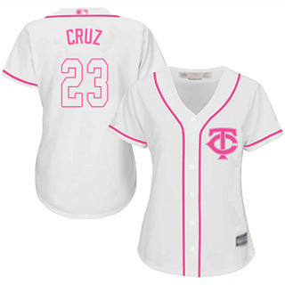 Women's Twins #23 Nelson Cruz White Pink Fashion Stitched Baseball Jersey