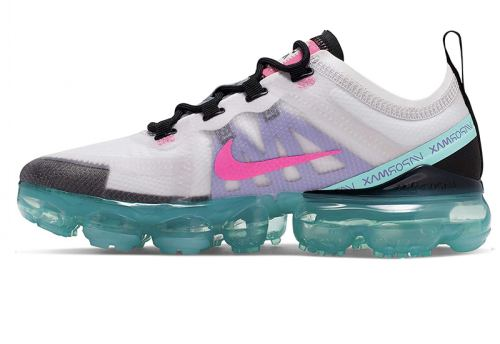 Women's Vapormax 2019 South Beach Sneakers Platinum Tint Pink Blast Aurora Green AR6632-005