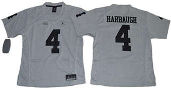 Women's Wolverines #4 Jim Harbaugh Gridiron Gray II Stitched NCAA Jersey