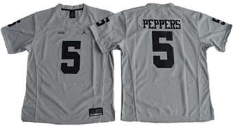 Women's Wolverines #5 Jabrill Peppers Gridiron Gray II Stitched NCAA Jersey