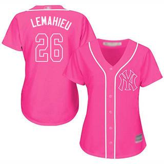 Women's Yankees #26 DJ LeMahieu Pink Fashion Stitched Baseball Jersey