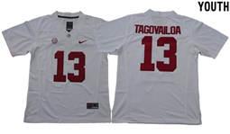 Youth Alabama Crimson Tide #13 Tua Tagovailoa White Limited Stitched NCAA Jersey