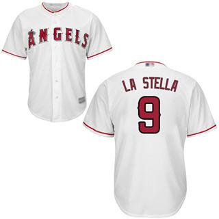 Youth Angels #9 Tommy La Stella White Cool Base Stitched Baseball Jersey