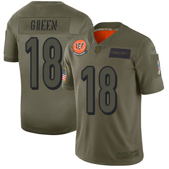 Youth Bengals #18 A.J. Green Camo Stitched Football Limited 2019 Salute To Service Jersey
