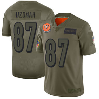 Youth Bengals #87 C.J. Uzomah Camo Stitched Football Limited 2019 Salute To Service Jersey