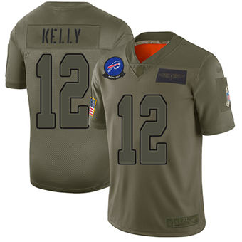 Youth Bills #12 Jim Kelly Camo Stitched Football Limited 2019 Salute To Service Jersey