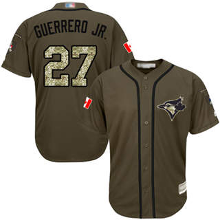 Youth Blue Jays #27 Vladimir Guerrero Jr. Green Salute to Service Stitched Baseball Jersey