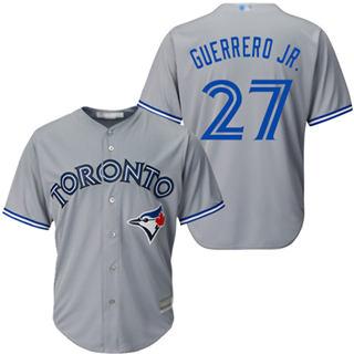 Youth Blue Jays #27 Vladimir Guerrero Jr. Grey Cool Base Stitched Baseball Jersey