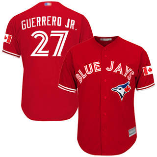 Youth Blue Jays #27 Vladimir Guerrero Jr. Red Cool Base Canada Day Stitched Baseball Jersey