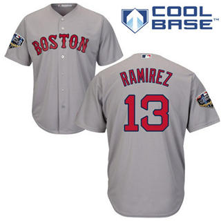 Youth Boston Red Sox #13 Hanley Ramirez Grey Cool Base 2018 World Series Stitched Baseball Jersey