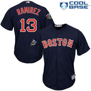 Youth Boston Red Sox #13 Hanley Ramirez Navy Blue Cool Base 2018 World Series Stitched Baseball Jersey