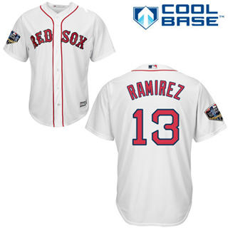 Youth Boston Red Sox #13 Hanley Ramirez White Cool Base 2018 World Series Stitched Baseball Jersey