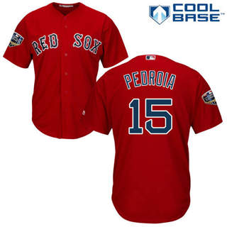 Youth Boston Red Sox #15 Dustin Pedroia Red Cool Base 2018 World Series Stitched Baseball Jersey