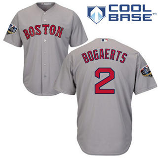 Youth Boston Red Sox #2 Xander Bogaerts Grey Cool Base 2018 World Series Stitched Baseball Jersey
