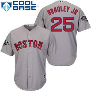 Youth Boston Red Sox #25 Jackie Bradley Jr Grey Cool Base 2018 World Series Stitched Baseball Jersey