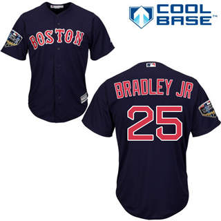 Youth Boston Red Sox #25 Jackie Bradley Jr Navy Blue Cool Base 2018 World Series Stitched Baseball Jersey