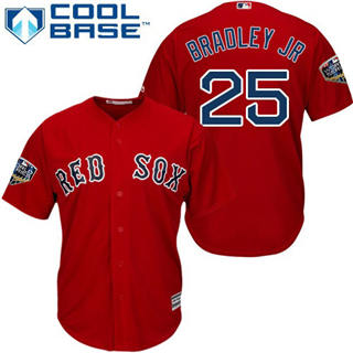 Youth Boston Red Sox #25 Jackie Bradley Jr Red Cool Base 2018 World Series Stitched Baseball Jersey