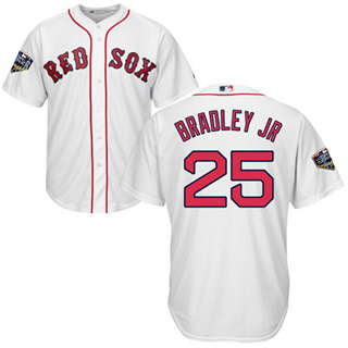 Youth Boston Red Sox #25 Jackie Bradley Jr White Cool Base 2018 World Series Stitched Baseball Jersey
