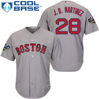 Youth Boston Red Sox #28 J. D. Martinez Grey Cool Base 2018 World Series Stitched Baseball Jersey