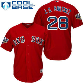 Youth Boston Red Sox #28 J. D. Martinez Red Cool Base 2018 World Series Stitched Baseball Jersey